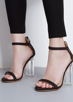35a5cf36be6 Black Suede Ankle Straps Open Toe Women Transparent Thick High Heel Sandals  Womens High Heels