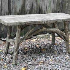 Small faux bois bench by Michael Fogg Concrete Table, Concrete Garden, Concrete Countertops, Workshop Bench, Workshop Ideas, Twig Furniture, Outdoor Furniture, Tree Branch Art, Concrete Sculpture