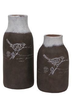 Vases with decorative painted Birds.