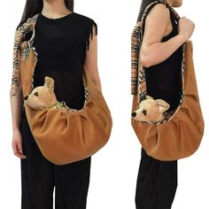 Luxury wool Pet cat small dog Travel Carrier sling bag outdoor portable adjustable dog Chihuahua carry tote shopping bag handbag