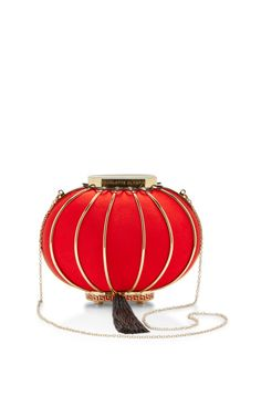 Lantern Satin and Metal Tasseled Clutch by Charlotte Olympia - Moda Operandi