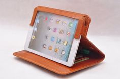 Item No: 3015 Top-level genuine leather simple briefcase and iPad case & iPad stands iPad Mini in waxed brown