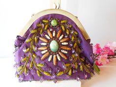 Purple Evening Bag Beaded Purple Handbag by LittleBitsofGlamour