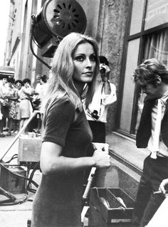 Sharon Tate on the set of Rosemary's Baby (1968)