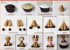 Best Web Christmas Fondant Tutorials : Easy Instructions. Reindeer Cute Cupcake topper