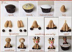Best Web Christmas Fondant Tutorials : Easy Instructions. Reindeer Cute Cupcake topper