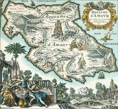 Carte du Tendre (pays imaginaire inspiré par Clélie, Histoire romaine de Madeleine de Scudéry),17e siècle, Paris, Bibliothèque nationale de France