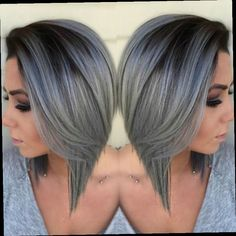 44.60$  Buy here - http://alipye.worldwells.pw/go.php?t=32777322035 - Grey Ombre Wig BOB 1B/Gray Synthetic Lace Front Wig High Quality Straight Short Bob Swiss Lace Cheap Wigs Women Hair Style