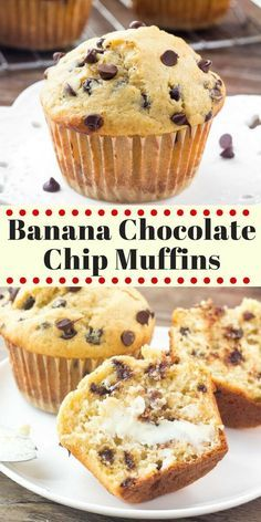 These Banana Chocolate Chip Muffins are moist fluffy buttery and filled with chocolate chips. They taste like a warm slice of banana bread and have perfectly domed golden muffin tops. - Chocolate Chip - Ideas of Chocolate Chip Muffins Chocolate Chip, Banana Bread Muffins, Chocolate Chips, Chocolate Cake, Banaba Muffins, Healthy Banana Muffins, Chocolate Banana Bread, Bisquick Banana Bread, Banana Bread Cupcakes