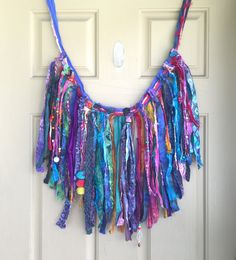 Bohemian Fringe Garland Batik and Sari Ribbons by theshadowpixie