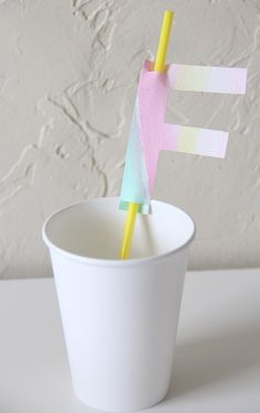 Watercolor Monogram Straw Topper DIY   perhaps more work than it's worth, but cute idea. Diy Party, Party Ideas, Garland, Celebrations, Balloons, Monogram, Watercolor, Birthday, Inspiration