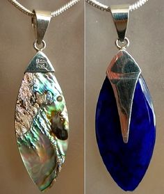 Abalone Oval Shell Two Sided Pendant c/w Sterling by camexinc