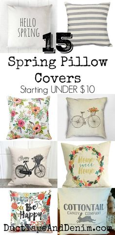 15 Spring pillow covers starting UNDER $10.00 | DuctTapeAndDenim.com