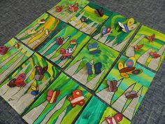 Photos and descriptions of student art projects being created by kindergarten through grade students at raymond central elementary school – Artofit Art Projects For Adults, Toddler Art Projects, School Art Projects, Kindergarten Art, Preschool Art, Art 2nd Grade, Art Papillon, Spring Art, Summer Art