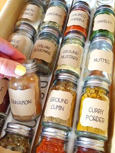 Organizing the Spices | Super easy remodel for the spice drawer and now I can find everything I'm looking for! #diy #organizing #homemade #labels #spices