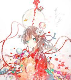 The beautiful girl under the hazy moon Anime Girl Cute, Beautiful Anime Girl, Anime Art Girl, Manga Girl, Anime Girls, Anime Kimono, Manga Anime, Yukata, Kawaii Anime