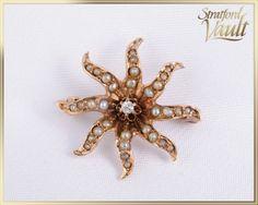 Items similar to Art Nouveau ~ Pearl & Diamond Sunburst Pin Brooch ~ Yellow Gold ~ European Cut Diamond ~ 32 Seed Pearls ~ ~ GIA ~ on Etsy Pearl Diamond, Gold Pearl, European Cut Diamonds, Brooch Pin, Diamond Cuts, Art Nouveau, Jewels, Antiques, Unique Jewelry