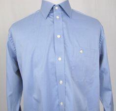 Eton Dress Shirt 16 Large Blue Wrinkle Free Regular Fit Blue 100% Cotton E28 #Eton