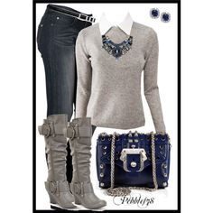 ♥ navy and grey.  Thinking of these colors with a splash of eggplant for our fall family pix.