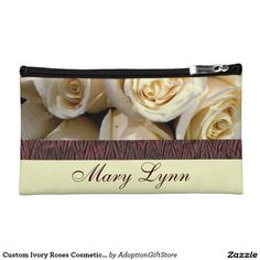 Custom Ivory Roses Cosmetic Bag