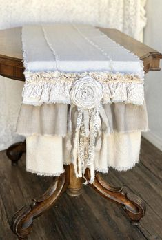 Custom Table Runner or Dresser runner multi ruffle ivory linen cotton canvas lace Handmade French Country Farmhouse dining room table design Farmhouse Table Runners, Farmhouse Dining Room Table, Shabby Chic Crafts, Shabby Chic Cottage, Shower Tile Designs, Table Design, Custom Cushions, Linens And Lace, Country Decor