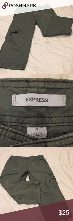EXPRESS Cargo Capri pants Olive green Express  cargo Capri pants with tie at the bottom of leg, big pockets on the tush and on the side of the leg. In great condition Express Pants Capris