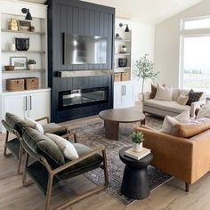 New Living Room, My New Room, Home And Living, Living Room Decor, Living Spaces, Living Room Without Tv, Living Room Modern, Home Fireplace, Fireplace Design
