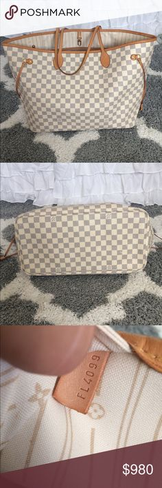 ❤️Auth LV Neverfull GM in Damier Azur❤️ 100% Authentic in Very Good Condition! Comes with purse only nothing else. Inside is mostly clean shows some minor stain. Vachetta is already a beautiful patina! Some marks on the bottom of the canvas but other than that it's a great bag. ❌No Trades please ❌ questions please ask❣ Louis Vuitton Bags Shoulder Bags