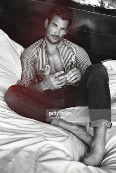 Model David Gandy poses for August Man on July 2012 in New York City. PUBLISHED Get premium, high resolution news photos at Getty Images David Gandy Style, David James Gandy, Sweet Night, Male Poses, Boy Poses, Black And White Pictures, Modern Man, Perfect Man, Sensual