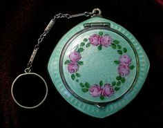 Finberg Silver Green Guilloche Enamel Pink Floral Designed Compact with Finger Ring or Chatelaine