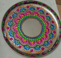 Thali Decoration Ideas, Acrylic Rangoli, Mandala Pattern, Rangoli Designs, Craft Items, Plates, Patterns, Crystals, Tableware