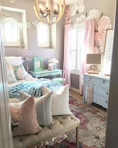 🍭 How sweet is daughters room? 🌷💕 We love the floral theme she has going here with pink, blue, and green pastels! And one can never have too many throw pillows! It just adds all different kinds of colors and textures to your space! Shabby Chic Bedrooms, Daughters Room, Beautiful Bedroom Designs, Bedroom Makeover, Bedroom Design, Beautiful Bedrooms, Bedroom Decor Design, Girl Bedroom Decor, Room Design