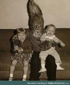 These Creepy And Disturbing Vintage Easter Bunny Photos That Will Make Your Skin Crawl Funny Easter Memes, Funny Memes, Funny Shit, Creepy Pictures, Funny Pictures, Strange Pictures, Real Easter Bunny, Easter Bunny Pictures Real, Creepy Vintage