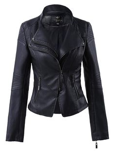Women's Daily Spring / Fall Short Leather Jacket, Solid Colored V Neck Long Sleeve PU Black / Wine / White Short Leather Jacket, Faux Leather Jackets, Coats For Women, Jackets For Women, Piercings, Moda Emo, Vegan Fashion, Men's Fashion, Outerwear Women