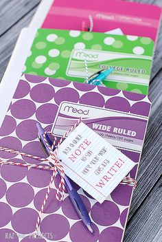Cute Back to School Gift Idea: Just a NOTE to say hope your year goes just WRITE!