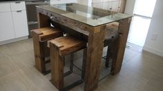 Reclaimed Wood Dining Table. Glass Top. Reclaimed Wood Kitchen Island. Handmade Rustic Table. Farm Huose Furmiture