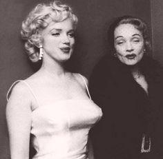 Marilyn Monroe & Marlene Dietrich in 1955