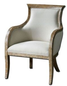 """Quintus Linen Armchair   Gorgeous Linen Armchair Featuring Almond Stained, Distressed Solid White Mahogany With An Antiqued, Toffee Crackle Paint Finish, A Soft Linen Covering Blended With Cotton Trimmed In Welt And Teflon(R) Treated For Soil Resistance. Seat Height Is 18.5"""".  $712.80  Available at: http://www.essentialsinside.com/quintus-linen-armchair/"""