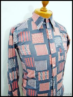 Vintage 1970s 70s Amazing Geometric Pattern Disco Shirt XS-S | eBay