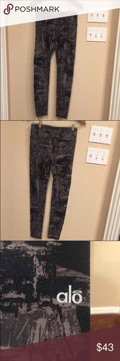 ALO Yoga Black and Gray  airbrush leggings CROSS POSTED ALO Yoga airbrush leggings in multi, black and grays. Gently used. Size:medium, but no size tag attached ALO Yoga Pants Leggings