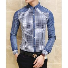 Stylish Shirt Collar Slimming Color Block Tiny Checked Splicing Long Sleeve Men's Denim Shirt, BLUE, L in Shirts | DressLily.com