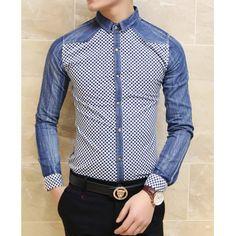 Stylish Shirt Collar Slimming Color Block Tiny Checked Splicing Long Sleeve Men's Denim Shirt, BLUE, L in Shirts   DressLily.com