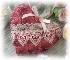 Heart Pillow Door Hanger Heart  BURGUNDY Decor by CharlotteStyle, $13.50