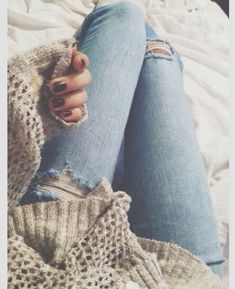 Ripped Jeans And Oversized Sweater Unknown Model/Photographer