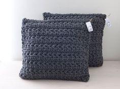 Dark grey crocheted pillow