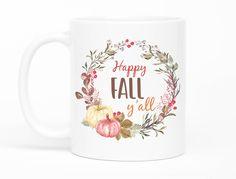 Happy Fall Yall Mug,Fall Mug,Happy Fall Mug,Autumn Mug,Pumpkin Mug,Autumn Coffee Mug,Pumpkin Coffee Mug,Halloween Mug,Thanksgiving Gift by mhuglife on Etsy