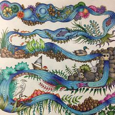 Meio psicodélico! Adorei!!!  #johannabasford #florestaencantada #enchantedforest #sextante #staedtler #lapisnorma #fabercastell #antistress #viciodecolorir #florestaencantada2