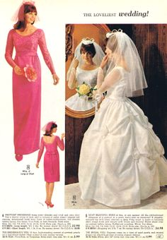 Wedding gown and bridesmaid dress 1965 Bride Gowns, Bridal Dresses, Wedding Gowns, Bridesmaid Dresses, Bridesmaids, Vintage Wedding Photos, Vintage Bridal, Vintage Dresses, Vintage Outfits