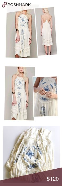 Free People 'Diamonds in the sky' crochet dress Free People 'Diamonds in the sky'  cream crochet dress with blue embroidery details. Size XS. Worn twice and in a good condition. Free People Dresses