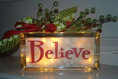 Believe Holiday Glass Block Light by VinylSigns4him on Etsy, $22.00